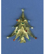 JJ Jonette Jewelry Christmas Tree Pin Brooch  Brushed Gold Rhinestone Si... - $29.99