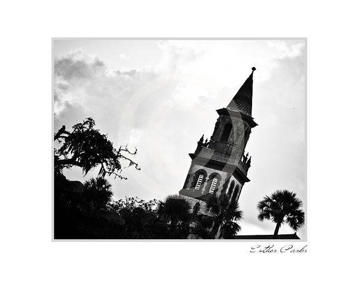 'Flagler College' (FL. Sky / Palms) Fine Art Print - 8x10 print matted to11x14