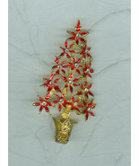 Christmas Tree Pin  Brooch Red Enamel Poinsettias Costume Jewelry  Unsigned - $9.99