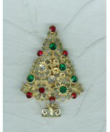 Lacy Flowery Christmas Tree Pin Gold Metal Rhinestones Costume Jewelry U... - $9.99