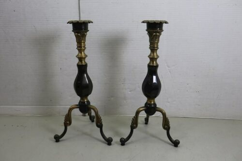 """Lot of 2 Vintage 15"""" Brass Metal Candle Holder Tabletop"""