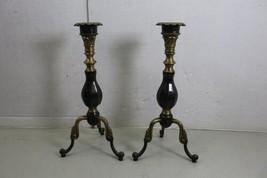 """Lot of 2 Vintage 15"""" Brass Metal Candle Holder Tabletop image 1"""