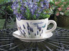 Lavender & Butterfly Theme Teacup & Saucer Planter Drain Hole Bottom of ... - $28.66