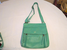 化石SHB1086116 Aspen Traveler Sea Glass Top Zip Leather purse **spot... - $148.49