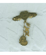 Signed Top Shelf Christmas Tree Pin Costume Jewelry  Antiqued Brass - $9.99