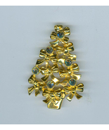 Avon Christmas Tree Pin Bows AB Crystals Signed  Costume Jewelry - $18.99