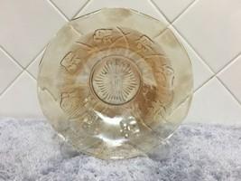 Vintage Jeanette Iris Herringbone Ruffled Bowl Peach Marigold Depression... - $19.99