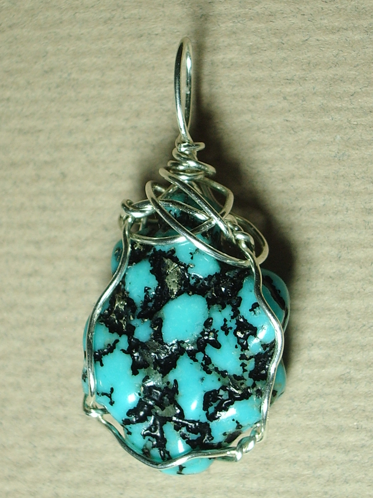 Primary image for Turquoise Nugget Pendant Wire Wrapped Jemel .925 Sterling Silver