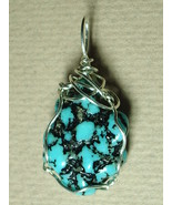 Turquoise Nugget Pendant Wire Wrapped Jemel .925 Sterling Silver  - $60.00