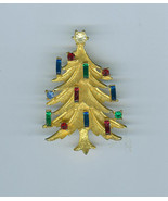 Vintage Mamselle Brushed Gold Christmas Tree Pin Candles Costume Jewelry  - $41.99