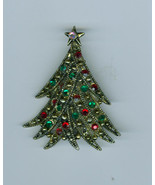 Vintage Antiqued Gold Metal Christmas Rhinestone Ribbon Tree Costume Jew... - $19.99