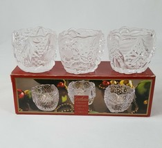 Gorham Christmas Candle Holder Votives North Pole Express Set Glass Santa Angel - $13.90
