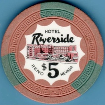 $5 Casino Chip, Riverside, Reno, NV. 1954. L33. - $12.50