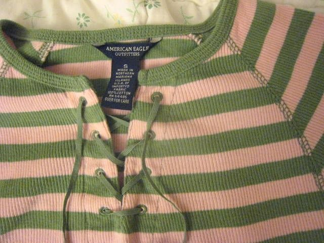 NWOT American Eagle Outfitters Pink Green Stripe lace up top SMALL S