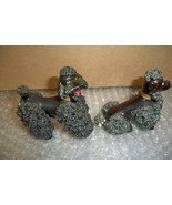 2 Vintage Black ceramic Spaghetti Poodles Nice NOT perfect, see pics!! - $21.99