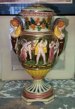 Vintage Italian Capodimonte Urn w Handles Frolicking Figurals - $87.86