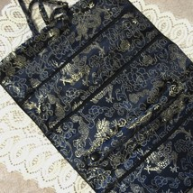 Large Dark Blue Dragon Print Satin Brocade Jewelry Roll Pouch, 11.5 Inches - $13.79