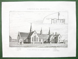 ARCHITECTURE PRINT : ENGLAND Primary School at Morlake Perspective View - $13.86