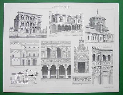 ARCHITECTURE PRINT : ITALY Renaissance Multiple Views Venice Como Milan