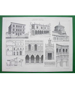 ARCHITECTURE PRINT : ITALY Renaissance Multiple Views Venice Como Milan - $13.86
