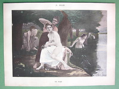 NUDE Young Ladies River Bath - VICTORIAN Color Lichtdruck Print