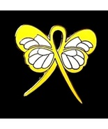 Obesity Pin Yellow Awareness Ribbon Butterfly S... - $10.97