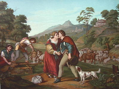 BIBLE Jacob & Rachel Dog Sheep Herd by Barbarelli  - SUPERB COLOR Litho Print