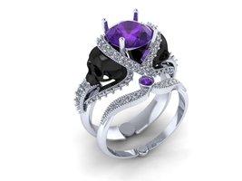 Skull Engagement Ring 14k  Alexanderite(Genuine... - $20,899.00