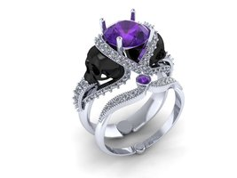 Skull Engagement Ring with Purple Amethyst 18 k - $1,929.00