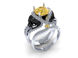 Skull Engagement Ring with Yellow Citrine 18 k - $2,695.00
