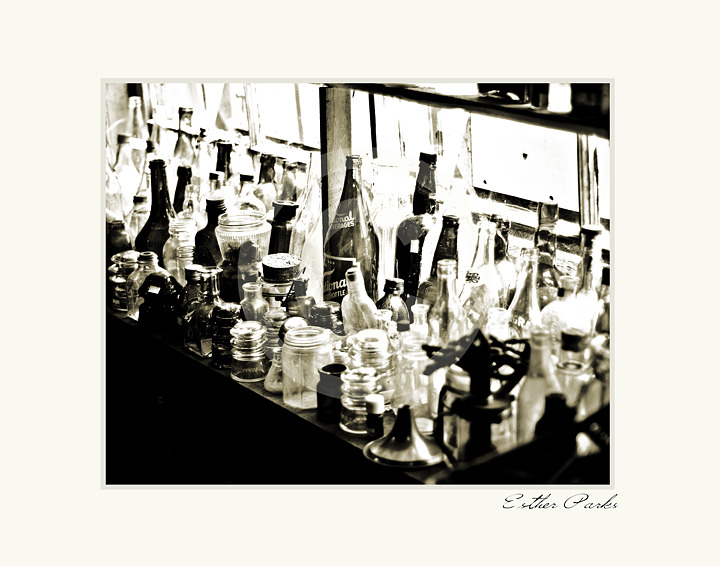 'Antique Glass' (Old bottles in shop window) Fine Art Print- 8x10 matted to11x14