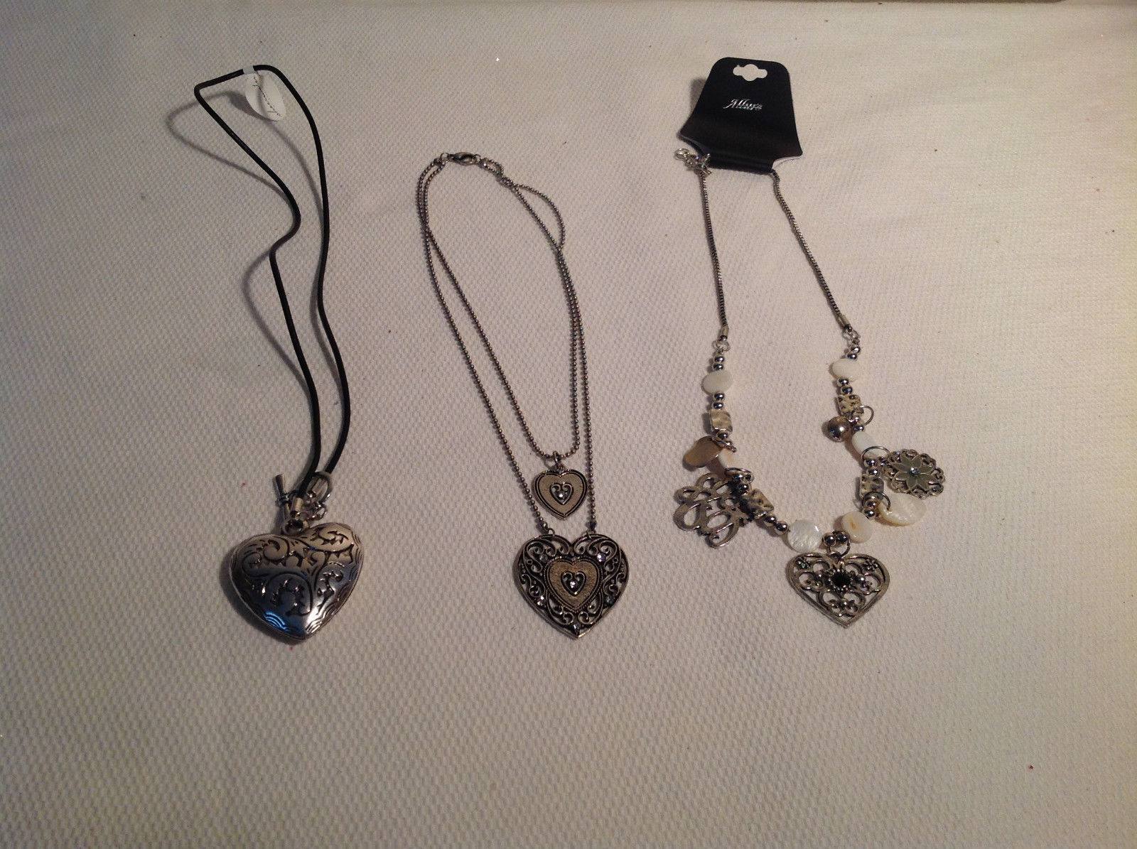 3pc Heart theme Necklace Set Adjustable length Silver tone CZs NEW