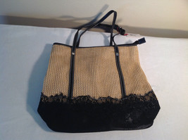 Beige Womens Mad Style Tote Bag w/ Black Lace on Bottom