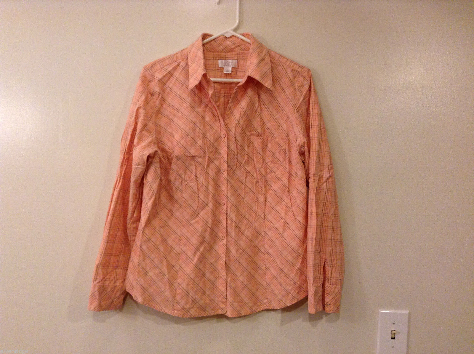 Ann Taylor Loft Light Pink Plaid 100% Cotton Shirt Blouse, size 16