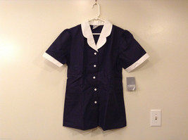 Crest Navy Blue White Front Buttons Closure Womens Scrub Top, Size 14