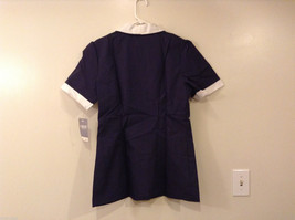 Crest Navy Blue White Front Buttons Closure Womens Scrub Top, Size 14 image 2