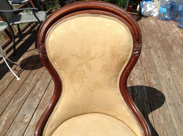 Antique Ornate Padded Slipper Chair Wood  Upholstery, Floral Patten Lace Trim image 2