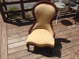Antique Ornate Padded Slipper Chair Wood  Upholstery, Floral Patten Lace Trim image 7