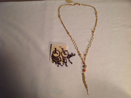Lot of 2 NEW Jewellery Necklace + Earrings Gold-tone Oxidized CZs