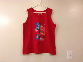 Holiday Edition Red Sleeveless T-Shirt Tank Top 100% Cotton, size XL