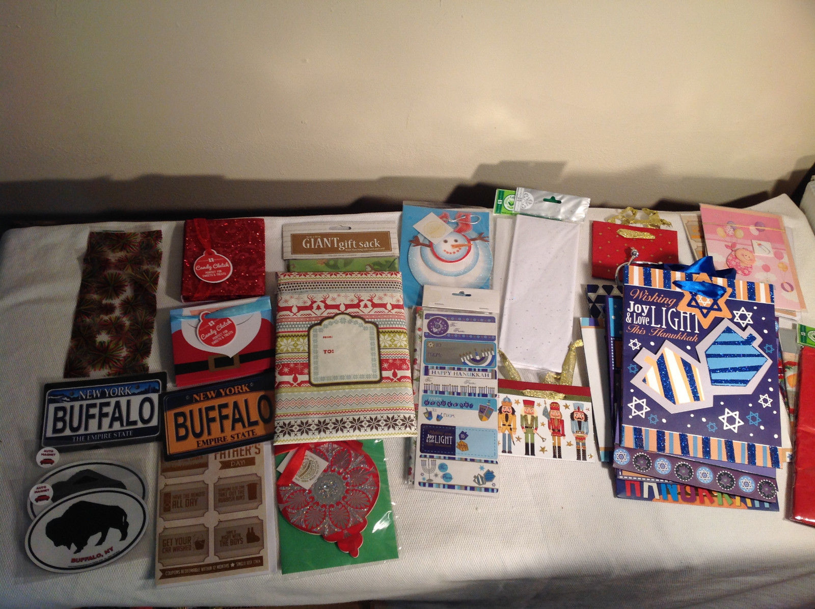Large Gift Accessories Lot Bags, Tissues, Cards, Magnets, Bowties, Hannukah 30+