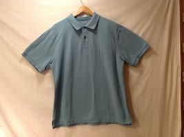 Lands' End Men's Size L 2-Button Pique Polo Shirt Short Sleeves Dusty Aqua Green
