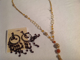 Lot of 2 NEW Jewellery Necklace + Earrings Gold-tone Oxidized CZs image 5