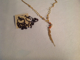 Lot of 2 NEW Jewellery Necklace + Earrings Gold-tone Oxidized CZs image 8
