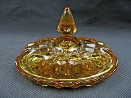 Vintage Art Glass amber spike butter dish Glass Americana deco - $49.00