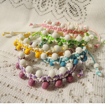 Chinese Knot Bracelet Porcelain Beads Double Layer Green Blue Pink Yello... - $21.00