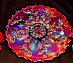 Frank M Fenton HOLLY Carnival Footed Plate 85th Birthday #1006 AA20-7631 - $175.50