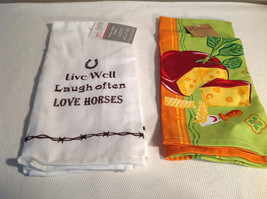 Lot of 2 NEW Kitchen Towels White Green w/ Orange Cotton Cheese Horses