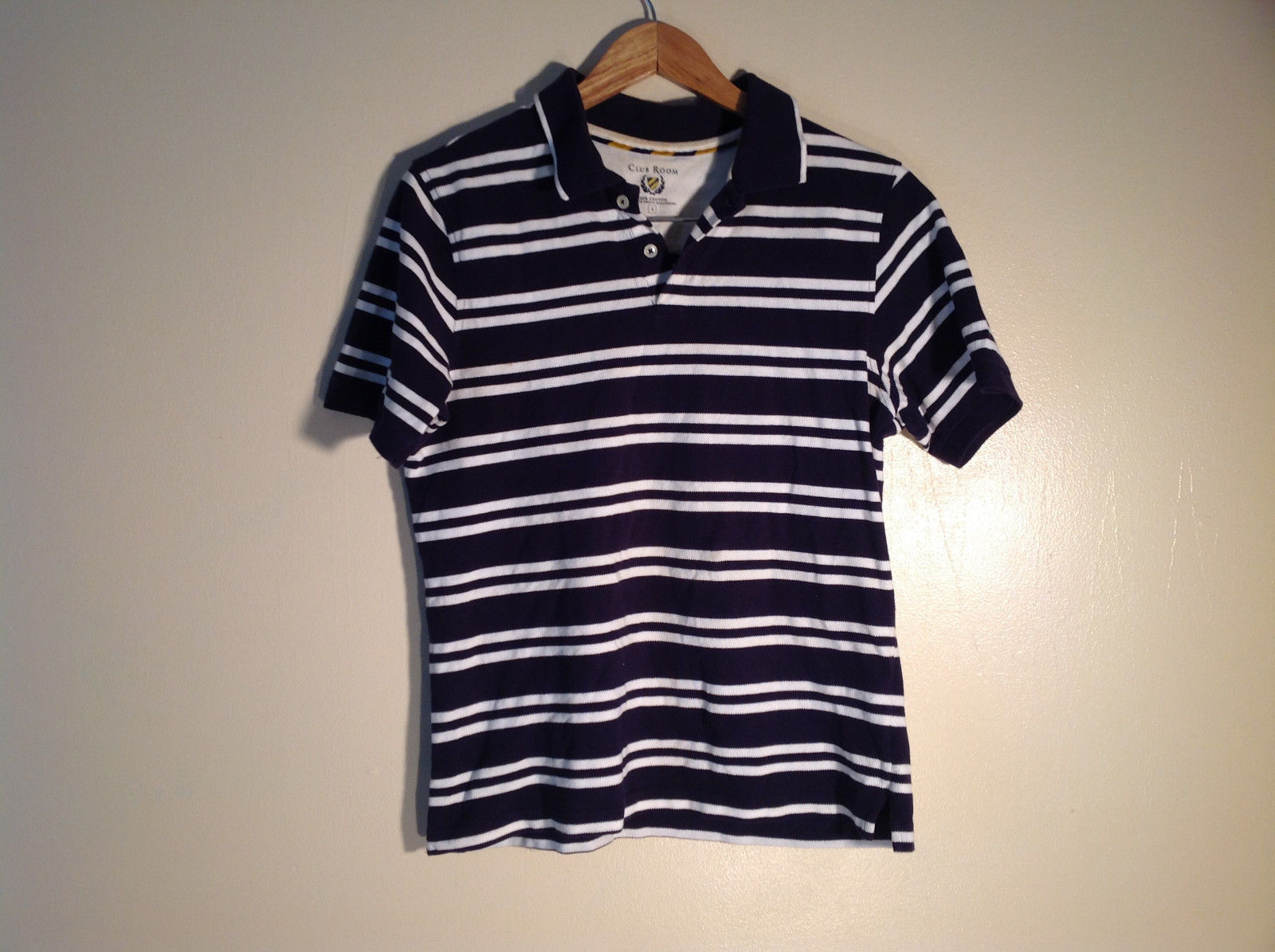 Mens Dark Dark Blue Polo w/ White Stripes Cotton Great Size S Club Room