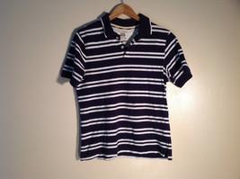 Mens Dark Dark Blue Polo w/ White Stripes Cotton Great Size S Club Room